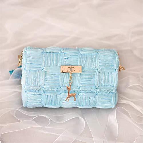 ZB TOP Hand-Woven Woven Yarn Fashion Bag, DIY Chain Bag Ribbon Yarn Mesh Homemade Shoulder Messenger Bag - DIY Your Own Shoulder Bag Blue