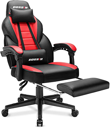 BOSSIN Racing Style Gaming Chair Computer Desk Chair with Footrest and Headrest Ergonomic Design Large Size High-Back E-Sports Chair PU Leather Swivel Game Office Chair (Red)