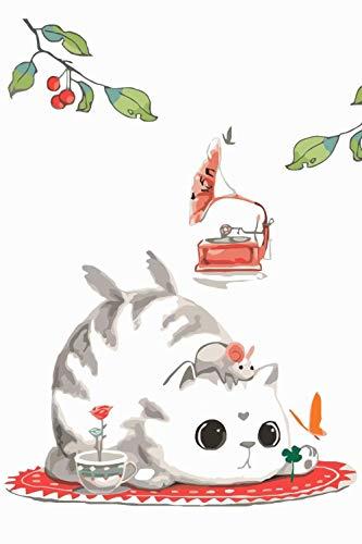 SKYTY Pintura por números Tocadiscos flor gato - DIY