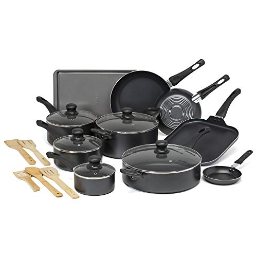 Ecolution Easy Clean Non-Stick Cookware, Dishwasher Safe Pots and Pans Set, 20 Piece, Black