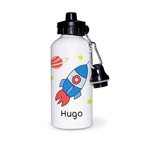 Botella de Aluminio Personalizada Infantil Cohete Con Nombre (600ml)