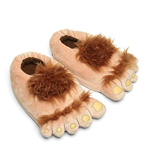 1 Pair Plush Monster Adventure Slippers Novelty Winter Big Feet Slippers Creative Bigfoot Shoes Warm Winter Hobbit Feet Indoor Shoes for Adults Kids