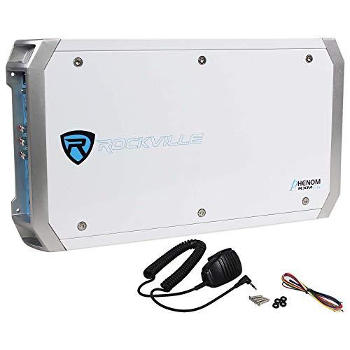 Rockville RXM-F4 Marine 4 Channel Amplifier 2400w Peak/600w RMS+PA Microphone