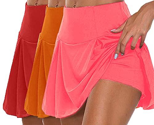 LaiYuTing Gimnasio Mujer Pantalones Cortos Falda Cintura Alta Pantalones Cortos Nuevos Pantalones Cortos De Retales con Estampado De Doble Capa Pantalones Cortos Deportivos
