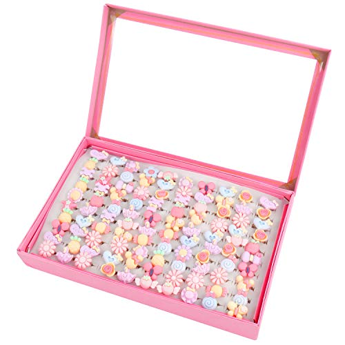SOTOGO 100 Pieces Little Girl Rings Jewelry Rings Girl Pretend Play Rings and Dress up Rings, Little Girls Gift