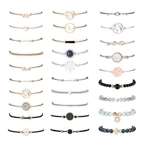 sailimue 29 Piece Cute Bracelets Set for Women Layered Adjustable Beaded Pendent Stack Links Bracelet Assorted Stackable Wrap Bangle Multiple Friendship Bracelet Jewelry Gift