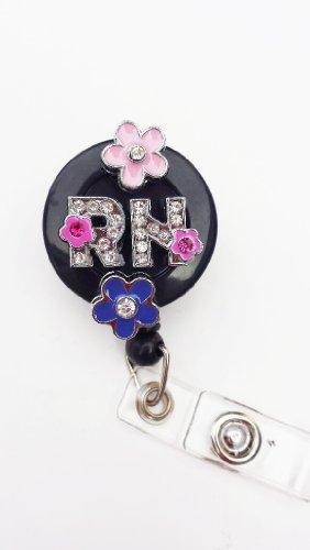 3D Double Pink Flower RN Logo Nurse Rhinestone Retractable Badge Reel/ID Badge Holder