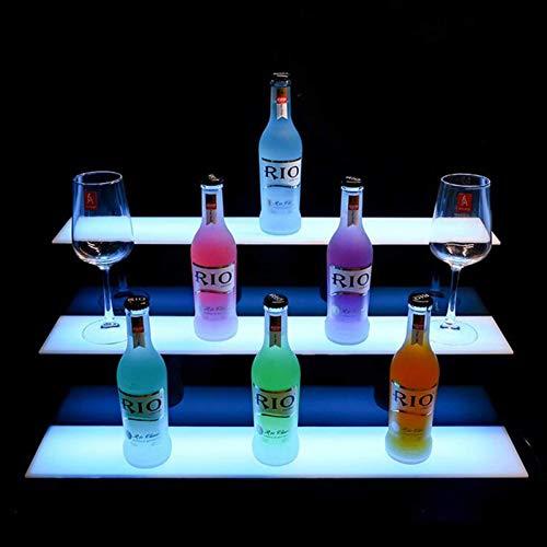 HYDDG Tablette d'affichage de Bouteille d'alcool Acrylique à 3 Couches Acrylique, Porte-vignobles gratuits avec télécommande RF, étagères de Boissons alcoolisées allumées à Domicile
