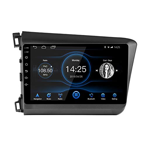 Ezonetronics Android 10.1 Autoradio Stereo 9 Zoll kapazitiver Touchscreen High Definition GPS Navigation Bluetooth USB SWC WiFi Player 2G DDR3 + 16G NAND Speicherblitz für Honda Civic 2012-2015