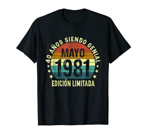 Nacido En Mayo 1981, Hombre Mujer 40 Años Cumpleaños Camiseta