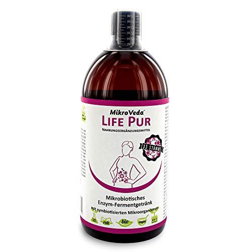 MikroVeda Life PUR, Enzymfermentgetränk, 33 Bakterienstämme, super-aktiviert, hoch zellverfügbar, bioverfügbar, vegan, roh, zertifizierter Hersteller… (1l)