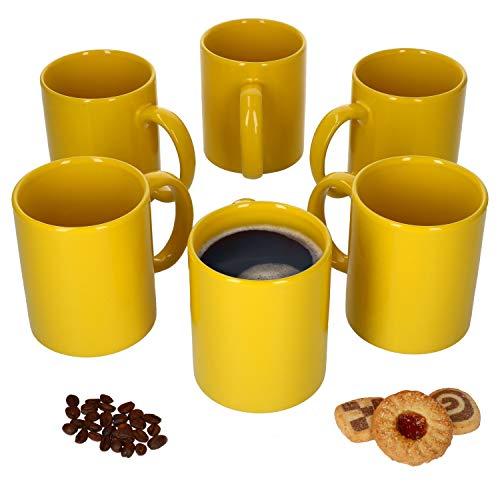 Van Well 6er-Set-Kaffeetassen Zylindrisch I Porzellan-Tasse groß - in diversen Farben I pflegeleichtes Tassen-Set - für Spülmaschine & Mikrowelle geeignet I 375 ml Kaffeebecher Gelb 6 Stück