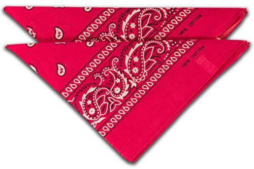 fashionchimp ® Nicki-Halstuch aus 100% Baumwolle im 2er Set, Unisex Bandana, AZO-Frei (Pink)