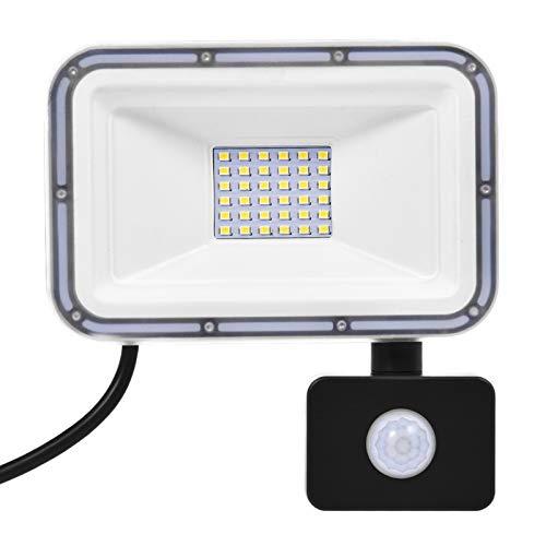 Focos de Inundación LED de 30W con Sensor de Movimiento, 2400LM Foco 6000K IP67 Iluminación Exterior Impermeable para Jardín, Paisaje, Estacionamiento al Aire Libre