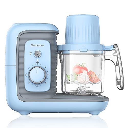 Elechomes Baby Food Maker Processor, Double Steam Basket Cooker with Timer, Blender, Steamer for Baby Infants Toddlers Food