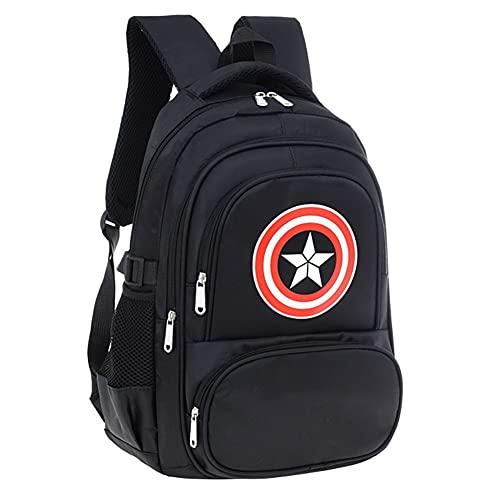 Towel Rings Mädchen Und Jungen, Kapitän Amerika Kinder-Rucksack Grundschultasche Kinderrucksack Captain America Nylon Stoff Schultasche 45x20x30cm
