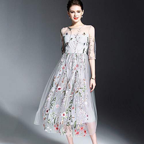 MeilinVREN Kleding, Boheemse bloem geborduurde jurk avondparty bloemenjurken Prachtige 1/2 mouwen lange jurk Trend