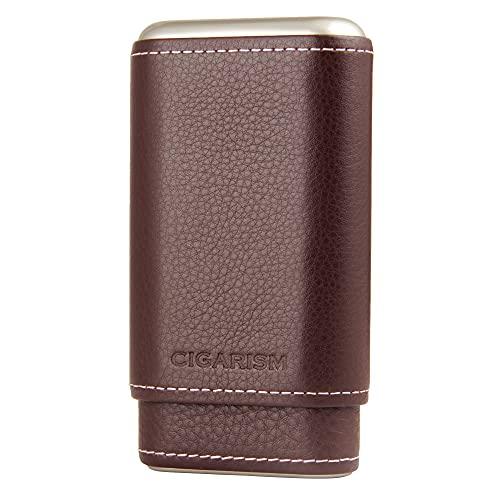CIGARISM Genuine Leather Cedar Lined Cigar Travel Holder...