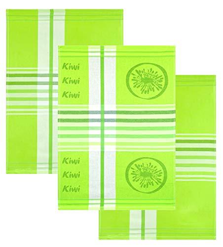 Lashuma Juego de 3 paños de cocina, diseño de kiwi, 50 x 70 cm, de algodón, color verde con rayas