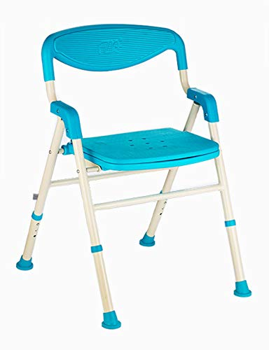 ZI LING SHOP Anti-slip Deluxe Badstoel Met Achterkant & Armen, Verstelbare & Opvouwbare Badkamer Kruk stoel Met Brede Stoel (Blauw)
