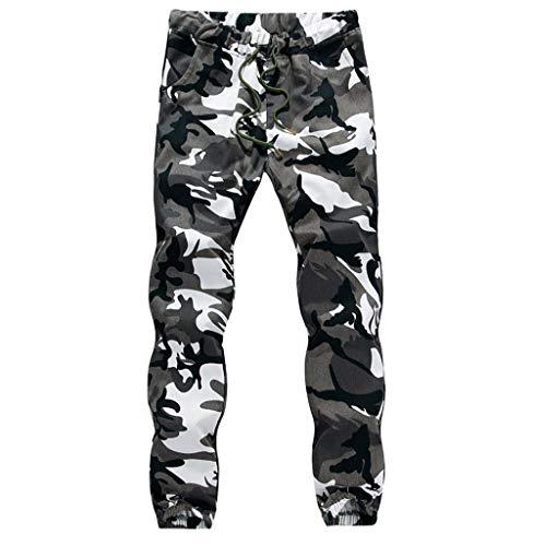 Tomatoa Hose Herren Camouflage Jogginghose Lang Streetwear Militär Cargo Hose Fitnesshose Sporthose Freizeithosen Trainingshose Regular Fit Outdoorhose Weiß XXL