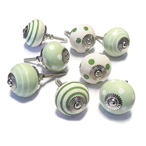 Pomelli Maniglie in Ceramica Verde Set di 8 per Armadi o Cassetti