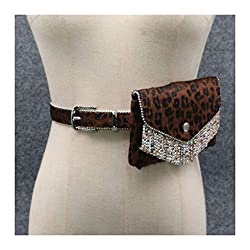 Waist Bags Leopard Belt With Rhinestone Tassel-C