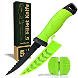 Fishing Fillet Knife 5 Inch, Professional Level Knives for Filleting Fish and Boning Meat, Sharp Stainless-Steel Non-Stick Coating Blade, Non-Slip Handles, Perfect For Freshwater And Saltwater Fish