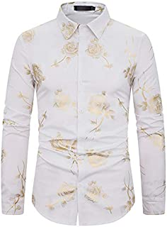 YDYG Men's Traditional National Shirt, Printed Long-Sleeved Shirtloose Top Polyester Blouse