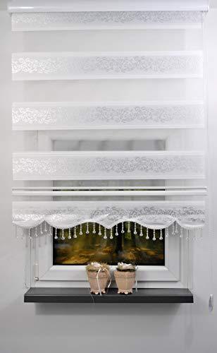 plisseeonline Duo Rollo Farbe Doppelrollo Weiss mit silbenen Muster + Alu-Kassette in verschieden Breiten mit Perlen Volant (120 x 200 cm)