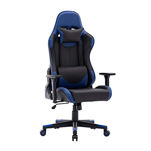 DSHF Racing Gaming stoel, Massage Gaming Stoel, Gamestoel in racestijl PU-leer Bureaustoel met hoge rug Ergonomisch ontwerp met verstelbare armleuning en lendensteun Zwart en blauw