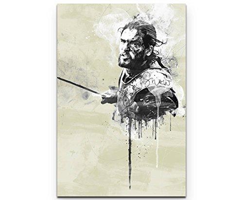 Paul Sinus Art Jon Snow GoT 90x60cm Splash Art Wandbild auf Leinwand naturfarbend
