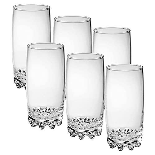 Set de 6 Vasos de Agua y Bebidas Alcohólicas, Vasos de Cristal Transparentes de 38,5cl, Aptos para Lavavajillas y Microondas