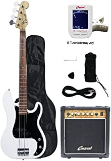 Crescent Electric Bass Guitar Starter Kit – White Color (Includes Amp &..