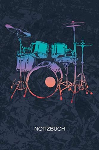 NOTIZBUCH: A5 Kariert - 120 Seiten KARO - Geschenkidee für Drummer Heft Instrumente Notizheft - Rock Musik Notizblock Schlagzeug Motiv - Musiker Geschenk Band