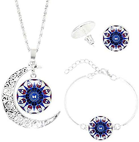 BACKZY MXJP Collar con Colgante De Mandala con Gema En Forma De Luna, Conjuntos De Pendientes De Pulsera, Conjuntos De Joyas Creativas De Yoga Vintage para Mujeres Y Hombres, Regalos Collar