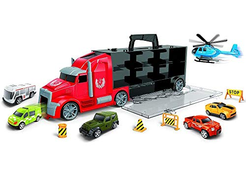 Brigamo Juego de coche de juguete con camión y rampa de arranque integrada en camión, transporte de coches, incluye asa con 5 coches de juguete, helicóptero y señales de tráfico