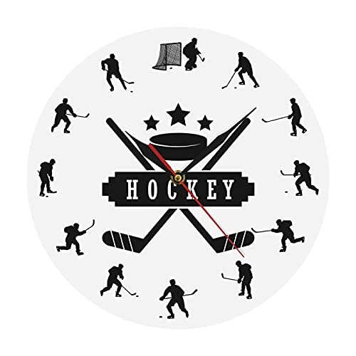 hufeng Wall Clockhockey Players Silhouette Sports Wall Art Modern Wall Clock Boys Room Decor Wall Hanging Clock Watch Gift For Ice Hockey Athlete