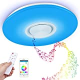 Lámpara de techo led regulable,Plafón Blanco puro de Techo con Control Remoto,Control App y Altavoz Bluetooth,60w Iluminacion con RGB Ajustable,para habitación infantil, salón 3000K - 6500K,Ø 40cm