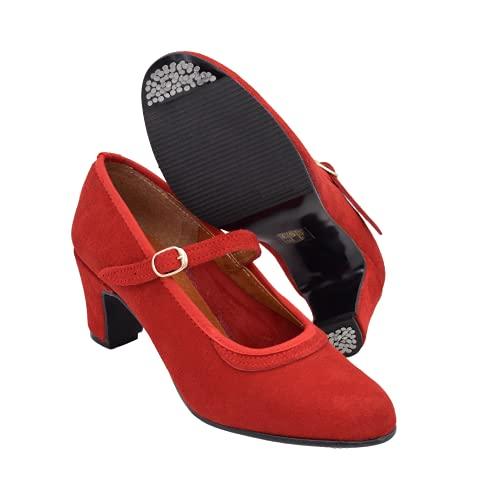 PASARELA - Zapatos Flamenco Mujer con Hebilla y Clavos Negro Cuero Mujer Color: Rojo Talla: 36