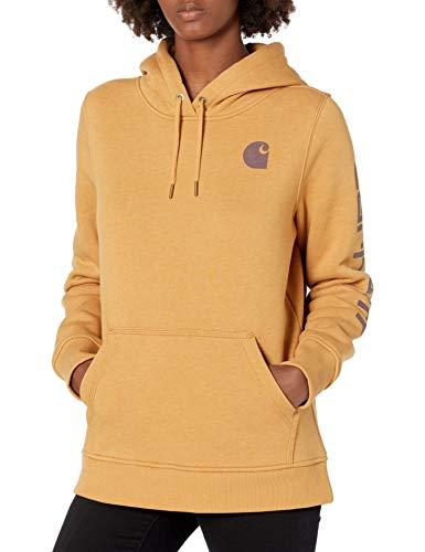 Carhartt Women's Clarksburg Graphic Sleeve Pullover Sweatshirt (Regular and Plus Sizes), Yellowstone Heather, Medium