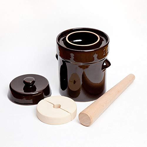 Kenley Gärtopf 2 Liter, Steingut-Topf zum Gären oder Einlegen von Kimchi, Sauerkraut, Gurken, Gemüse, Kombucha, Keramik-Fermenter mit Gewichten und Deckel und Stößel