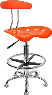 Flash Furniture Vibrant Orange and Chrome Drafting Stool with Tractor Seat - LF-215-ORANGEYELLOW-GG