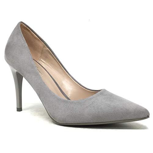 Angkorly - Damen Schuhe Pumpe - Stiletto - Abend - Sexy - Basic Stiletto high Heel 8.5 cm - Grau B-79 T 39