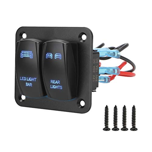 ZXH Home 5 Pin On/Off Toggle con LED Light 2 Gang Rocker Interruptor Panel Cableado Arnés Interruptor Panel de Control Partes Interiores Ajuste para Coche ATV UTV (Color : Blue)