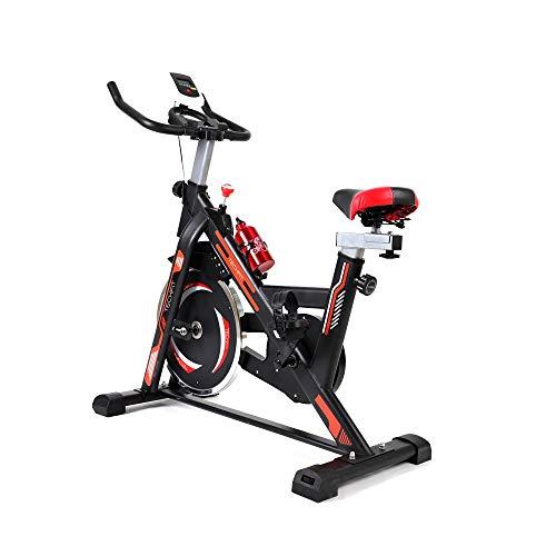TechFit SBK1500 - Bicicleta de spinning, 13 kg, volante, asiento y manillar ajustables, sistema de frenado rápido, pantalla LCD, Bluetooth, soporte de teléfono, para bicicleta interior