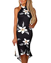 Material: Polyester. Comfy and soft, comfortable to wear. Hand wash is recommended. Features: Halter neck with button closure at back, Sleeveless, Open back, Tie-up at back,Splited detailing at the front. Style: Vacation style, Maxi length, Without l...