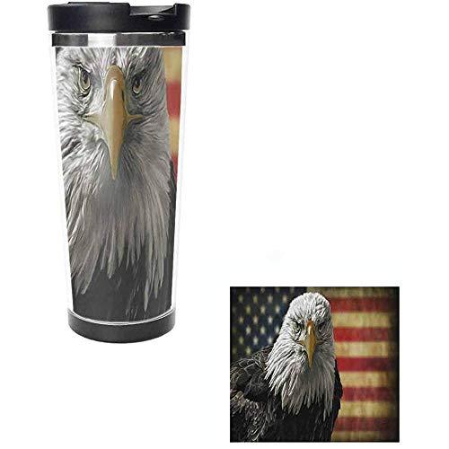 datgirl Amerikanische Kahle Eule Auf Schmutz-Flaggen-Wasser-Flaschen-Edelstahl-Leck-Beweis Ummauerte Vakuumisolierte Kaffeetasse-Trommel-Schale