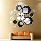 XBI Reloj de Pared 3D DIY, Reloj de acrílico y Estilo de Espejo, calcomanía extraíble, Vinilo artístico, Adhesivo para Pared, hogar y Oficina, Hermosa decoración Black
