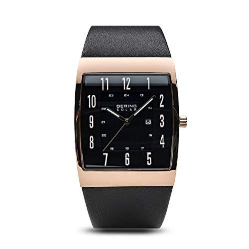 BERING Herren Analog Solar Uhr mit Leder Armband 16433-462